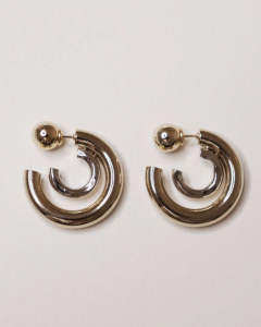 DOUBLE RING EARRINGS / ダブルサークルピアス【A19AW127】