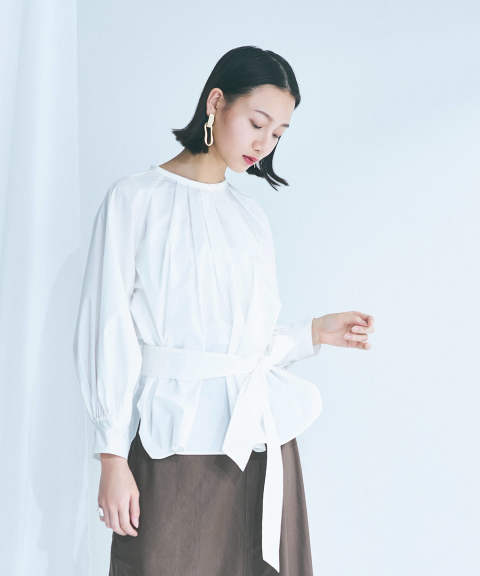 TUCK GATHERED MODE BLOUSE / タックギャザーモードブラウス