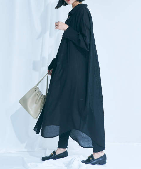 SEE-THROUGH 3WAY LONG SHIRT / 3WAY 透けロングシャツ A20SS104-BLACK ANT