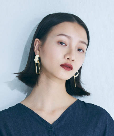 MARBLE DOCKING EARRINGS / マーブルドッキングピアス
