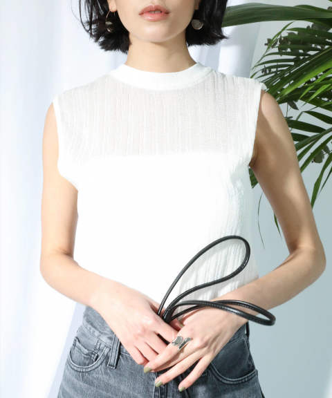 SEE-THROUGH KNIT NOSLEEVE TOPS / 透けリブニットノースリーブトップス A20SS227-WHITE-F ANT