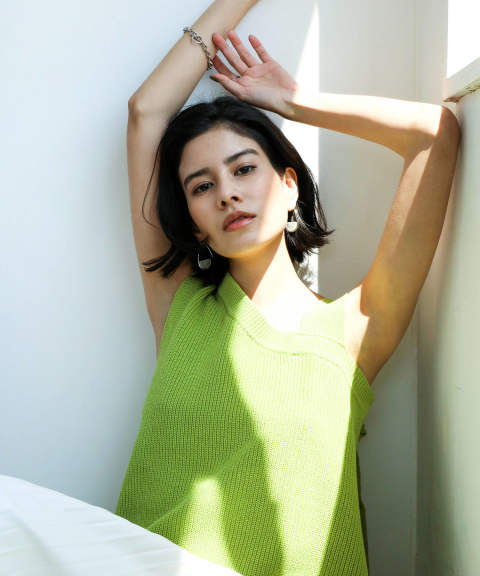 ONE SHOULDER DESIGN KNIT TOPS / ワンショルダーデザインニットトップス A20SS208-GREEN-F ANT