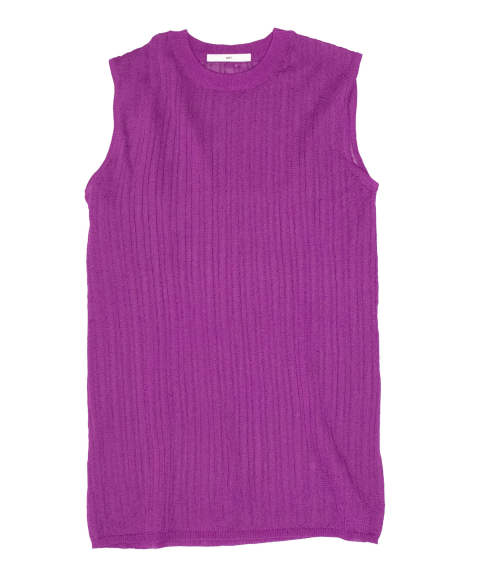 SEE-THROUGH KNIT NOSLEEVE TOPS / 透けリブニットノースリーブトップス A20SS227-PURPLE-F ANT